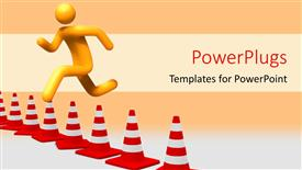 PowerPoint template displaying person jumping to overcome hurdle with orange color