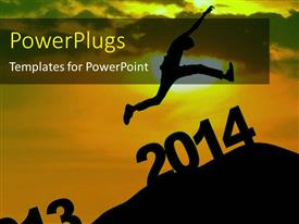 PowerPlugs: PowerPoint template with a person jumping towards the new year