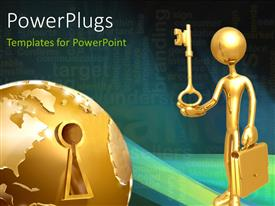 PowerPlugs: PowerPoint template with a person with a key and a number of bullet points