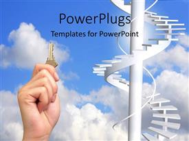 PowerPlugs: PowerPoint template with a person with a key and stairs in the background