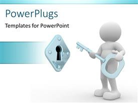 PowerPlugs: PowerPoint template with a person with a key unlocking a lock