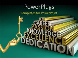 PowerPlugs: PowerPoint template with a person with a key and various words in the background