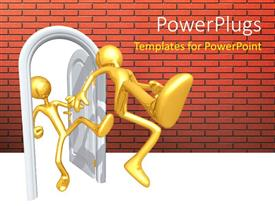 PowerPlugs: PowerPoint template with a person kicking out the other one
