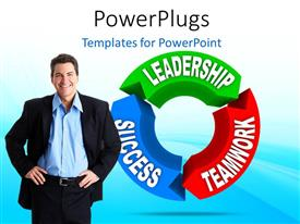 PowerPlugs: PowerPoint template with a person with a leadership circle in the background