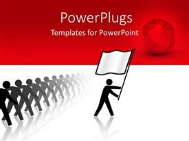 PowerPlugs: PowerPoint template with a person leading an army with reddish background