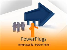 PowerPlugs: PowerPoint template with a person leading others towards a direction