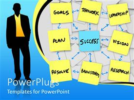 PowerPoint template displaying a person with his life sorted out