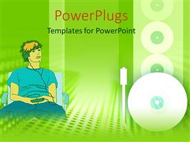 PowerPlugs: PowerPoint template with a person listening to music with greenish background