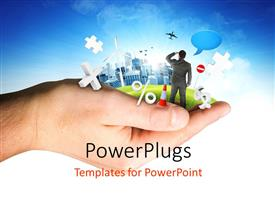 PowerPlugs: PowerPoint template with a person looking for the apps and bluish background