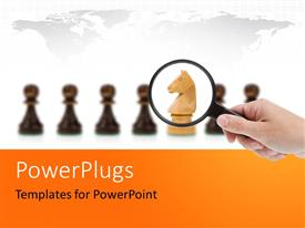 PowerPlugs: PowerPoint template with a person looking at the chess pieces with a magnifying glass