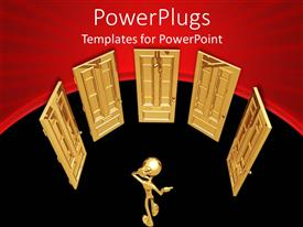 PowerPlugs: PowerPoint template with a person looking for the correct door to open