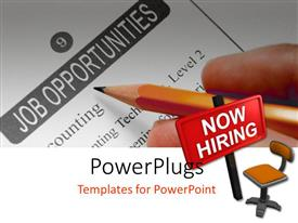 PowerPoint template displaying a person looking for a job with an ad in front