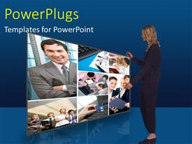 PowerPlugs: PowerPoint template with a person looking at a number of screens