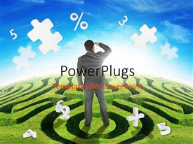 PowerPlugs: PowerPoint template with a person looking for the puzzle pieces and bluish background