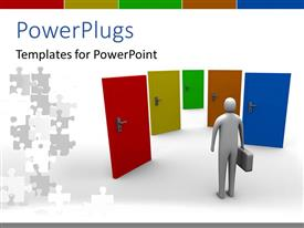 PowerPlugs: PowerPoint template with a person looking for the right door