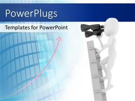 PowerPlugs: PowerPoint template with a person looking through binoculars with a building in background