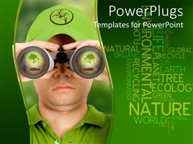 PowerPlugs: PowerPoint template with a person looking through the binoculars with words in the background