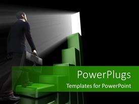 PowerPoint template displaying a person looking through the space with blackish background