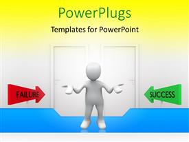 PowerPlugs: PowerPoint template with a person looking towards failure and success with yellowish background