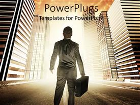 PowerPlugs: PowerPoint template with a person looking towards the skyscrapers