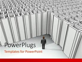 PowerPlugs: PowerPoint template with a person with a lot of deadlocks in the background