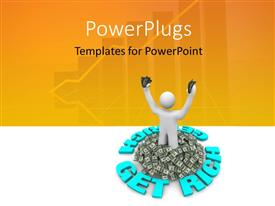 PowerPoint template displaying a person with a lot of money