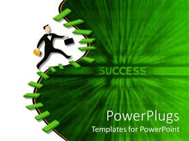 PowerPlugs: PowerPoint template with a person with a lot of stairs and greenish background