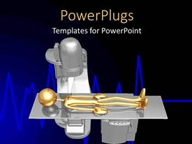 PowerPlugs: PowerPoint template with a person lying for a checkup with blackish background
