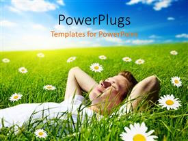 PowerPlugs: PowerPoint template with a person lying in the grass with clouds in the background