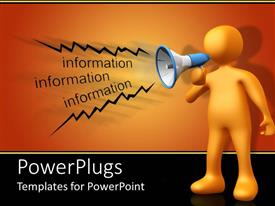 PowerPlugs: PowerPoint template with a person making an announcement on loud speaker