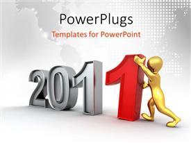 PowerPlugs: PowerPoint template with a person making the digits 2011 with map in background