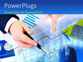 PowerPlugs: PowerPoint template with a person making a graph with various financial reports underneath