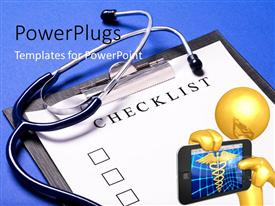 PowerPlugs: PowerPoint template with a person with a medical report and stethoscope in the background