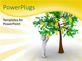 PowerPlugs: PowerPoint template with a person with a money tree and place for text