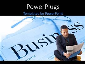 PowerPoint template displaying a person with a newspaper and a place for text
