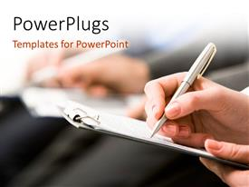 PowerPlugs: PowerPoint template with a person noting something on the paper