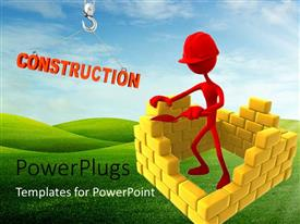 PowerPlugs: PowerPoint template with a person with a number of bricks and greenish background