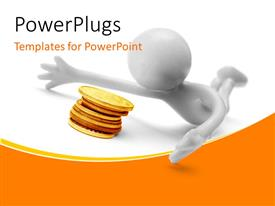 PowerPlugs: PowerPoint template with a person with a number of coins and white background