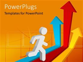 PowerPlugs: PowerPoint template with a person with a number of colorful arrows