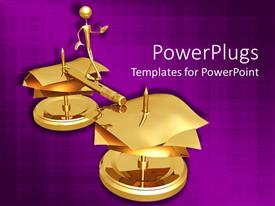 PowerPlugs: PowerPoint template with a 3D person with a number of golden papers going towards success