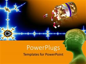 PowerPoint template displaying a person with a number of pills and brownish background