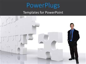 PowerPlugs: PowerPoint template with a person with a number of puzzle pieces in an arrangement