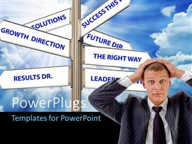 PowerPlugs: PowerPoint template with a person with a number of signs in background