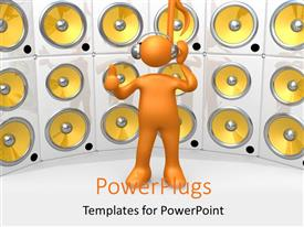 PowerPlugs: PowerPoint template with a person and a number of speakers in the background