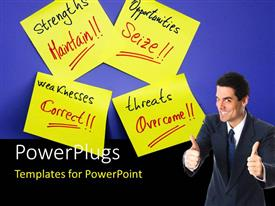 PowerPlugs: PowerPoint template with a person with a number of sticky notes and bluish background