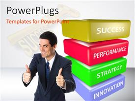 PowerPoint template displaying a person with a number of success rules in the background