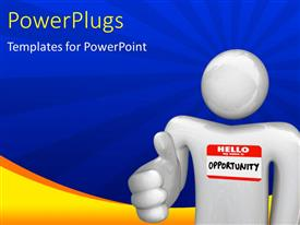 PowerPlugs: PowerPoint template with person offering handshake representing new opportunities with blue rays