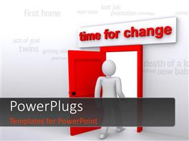 PowerPlugs: PowerPoint template with a person with an open door and various words