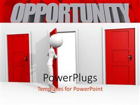 PowerPlugs: PowerPoint template with a person opening the door along with two door which are locked