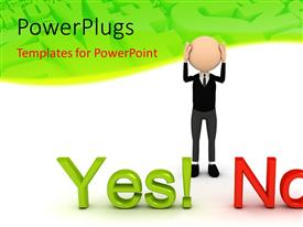 PowerPlugs: PowerPoint template with a 3D character standing n front of 'yes' and 'no' text